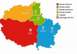 Il territorio dell'Asl CN1 diviso in 4 distretti